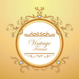 Diamond and gold background vintage frame vector Royalty Free Stock Photography