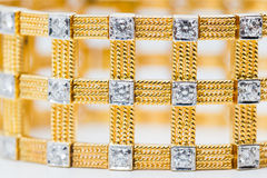 Diamond and gold bracelet Stock Photo