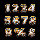 Diamond and gold digits. Set Royalty Free Stock Image