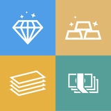 Diamond, gold and money vector icon Stock Image