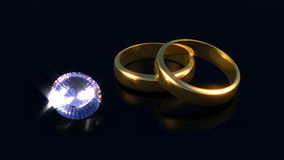 Diamond and gold rings Stock Image