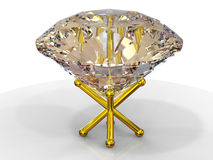Diamond on golden stand Stock Images