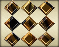 Diamond grid pattern in textured metallic gold on neutral background Royalty Free Stock Images