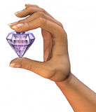 Diamond In Hand. 3D illustration of large diamond being held, on white background Royalty Free Stock Image