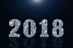 Diamond Happy New 2018 år, vektor Arkivbilder