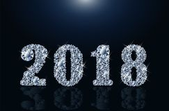 Diamond Happy New 2018 anni, vettore Immagini Stock