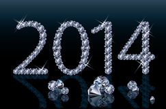 Diamond Happy New 2014 Year banner. Illustration Royalty Free Stock Photo