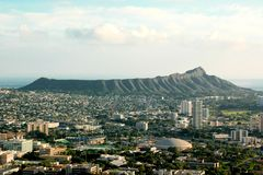 Diamond Head. A broad view of historic Diamond Head, an extinct volcano bordering Waikiki. In the forefront is the University of Hawaii Stock Photo