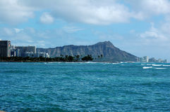Diamond Head. View of Diamond Head from the South Shore of Oahu Royalty Free Stock Images