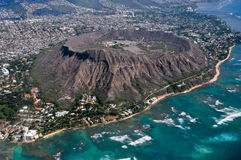 Diamond Head from above with Pacific Ocean Royalty Free Stock Images