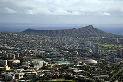 Diamond Head Crater. In Honolulu, Hawaii on the island of Oahu. The University of Hawaii is in the foreground royalty free stock image