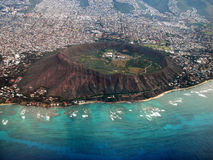 Diamond Head Crater Aerial. Aerial view of Diamond Head Crater, Oahu, Hawaii Stock Image