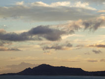 Diamond Head Crater and Kahala Beach with epic dusk scape Stock Photography