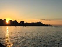 Diamond Head en la salida del sol fotografía de archivo libre de regalías
