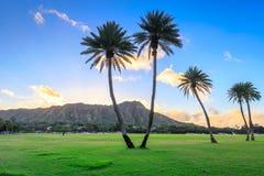Diamond Head en la salida del sol, Oahu, Hawaii imagen de archivo