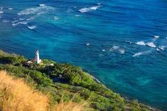 Diamond Head fyr i Honolulu Arkivbilder