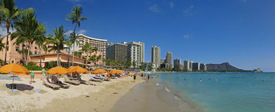 Diamond Head hawaii Panoramic Royal Hawaiian Royalty Free Stock Image