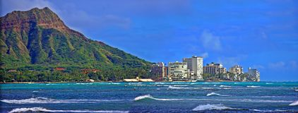 Diamond Head and Honolulu Royalty Free Stock Photo