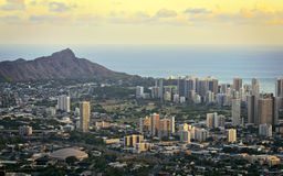 Diamond head and Honolulu Stock Photo