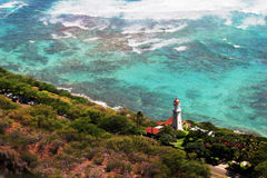 Diamond Head Lighthouse in Honolulu, Hawaii Stock Photos