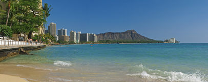 Diamond head Panoramic Hawaii. This is a great view of diamond head taken from the beach in front of ft derussey Royalty Free Stock Photo