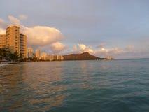 Diamond head at sunset Oahu Hawaii stock photo