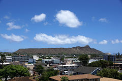 Diamond Head and Town Area Stock Photo