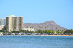 Diamond Head und Hotels Stockfotografie