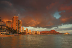 Diamond Head Volcano at sunset from Waikiki Beach Oahu, Hawaii Royalty Free Stock Images