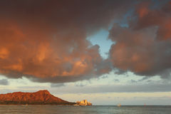 Diamond Head Volcano at sunset from Waikiki Beach Oahu, Hawaii Royalty Free Stock Image