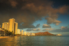 Diamond Head Volcano at sunset from Waikiki Beach Oahu, Hawaii Stock Image