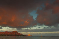 Diamond Head Volcano at sunset from Waikiki Beach Oahu, Hawaii Royalty Free Stock Photography
