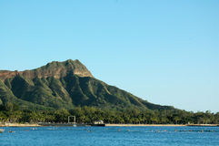 Diamond Head from Waikiki. A striking view of Diamond Head featuring the Natatorium and surfers in the water Stock Images