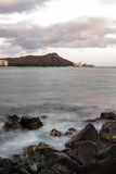 Diamond Head and Waikiki at dusk Royalty Free Stock Images