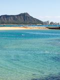 Diamond Head from Waikiki. With shallow water in the foreground Royalty Free Stock Image