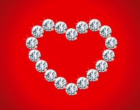 Diamond heart. Vector Illustrations of  diamond frame with heart on red background Stock Photos
