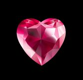 Diamond Heart. Beautiful vector illustration of ruby heart on black background Stock Photos