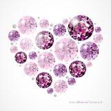 Diamond heart. Abstract heart illustration with diamonds and pearls stock illustration