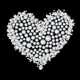 Diamond heart on black background Stock Images