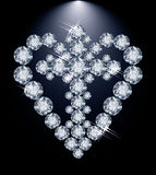 Diamond heart and Christian Cross Royalty Free Stock Photo