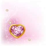 Diamond heart in golden frame Royalty Free Stock Photo
