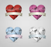 Diamond heart. S set with ribbon banner Royalty Free Stock Image