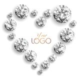 The diamond heart isolated. Luxury diamonds of different sizes laid out in the shape of a heart on a white background Royalty Free Stock Images