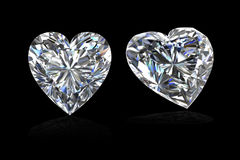 Diamonds heart shape on black-3D render Royalty Free Stock Photography
