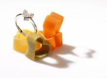 Diamond heart shaped ring. Royalty Free Stock Photo