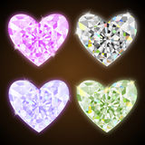 Diamond hearts. Set illustration Stock Illustration