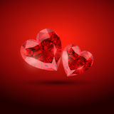 Diamond hearts. Beautiful valentine diamond shape hearts Royalty Free Illustration