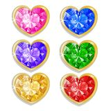 Diamond hearts with different colors. Isolated on white Royalty Free Illustration