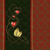 Diamond hearts and gold ornaments. Beautiful illustration with three red diamond hearts and gold ornaments Stock Photos