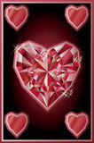 Diamond hearts poker card, vector. Illustration Stock Illustration